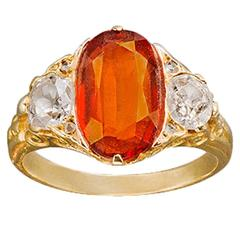 Late 19th Century Russian Garnet Diamond Gold Ring