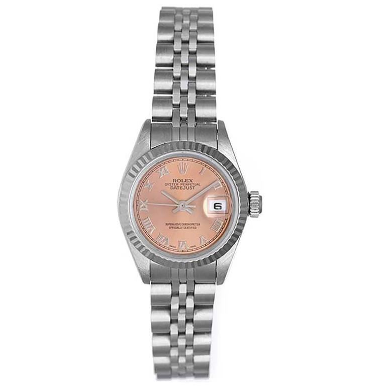 Rolex Lady's Datejust Stainless Steel Salmon Roman Dial Automatic Wristwatch