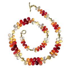 Barbara Heinrich Fire Opal Briolette Gold Petals Necklace