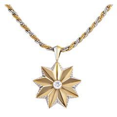 Garrard Diamond Two Color Gold Star Pendant Necklace