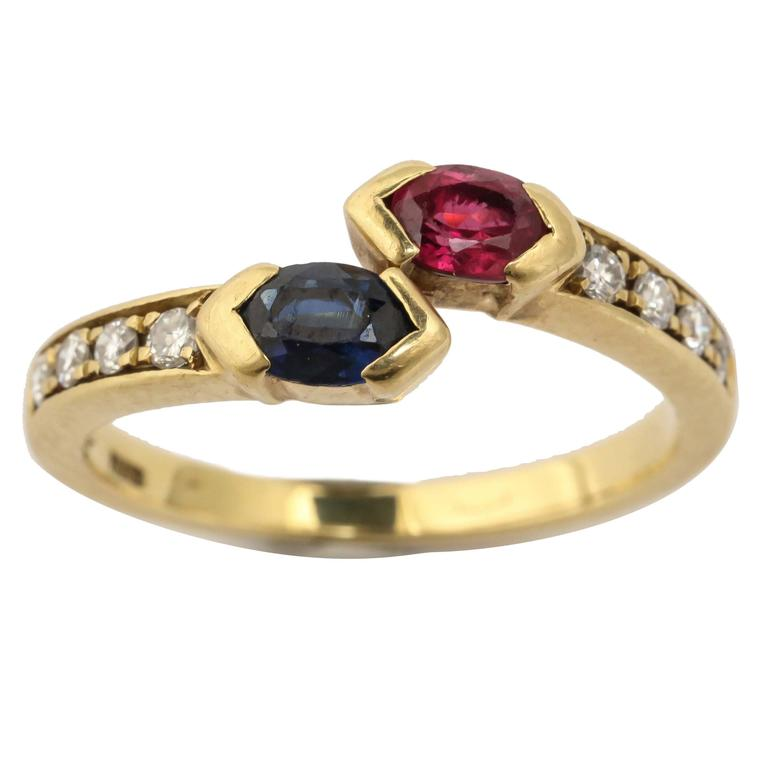 Ruby And Fiamond Cross Over Ring