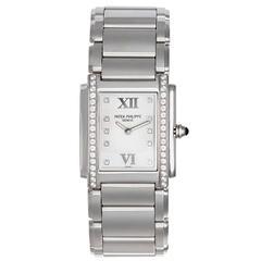 Patek Philippe Ladies Stainless Steel Diamond Twenty-4 Quartz Wristwatch
