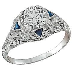 1.57 Carat GIA Cert Diamond Platinum Engagement Ring
