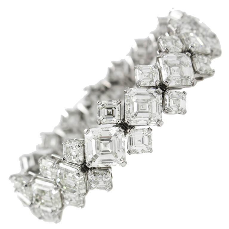 GIA Certified Asscher Cut Diamond Platinum Bracelet
