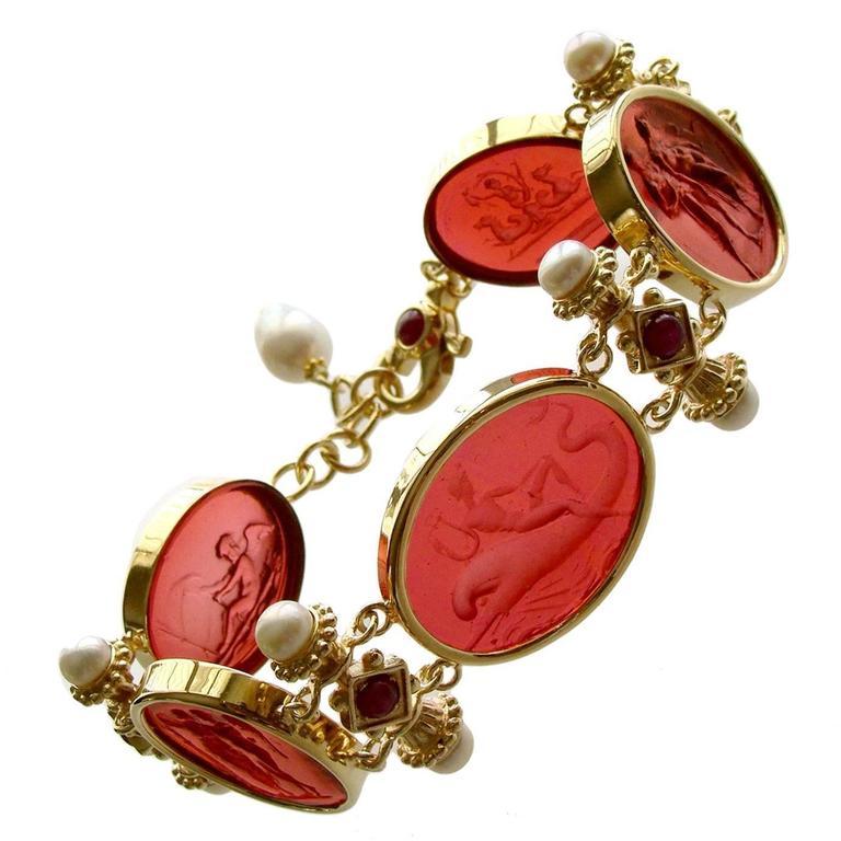 Venetian Glass Intaglios Pearl Ruby Silver Vermeil Bracelet 1