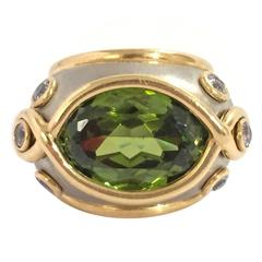 Andrew Clunn Gorgeous Peridot Aquamarine Gold Platinum Ring