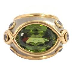 Andrew Clunn Gorgeous Peridot Aquamarine Gold Platinum Ring