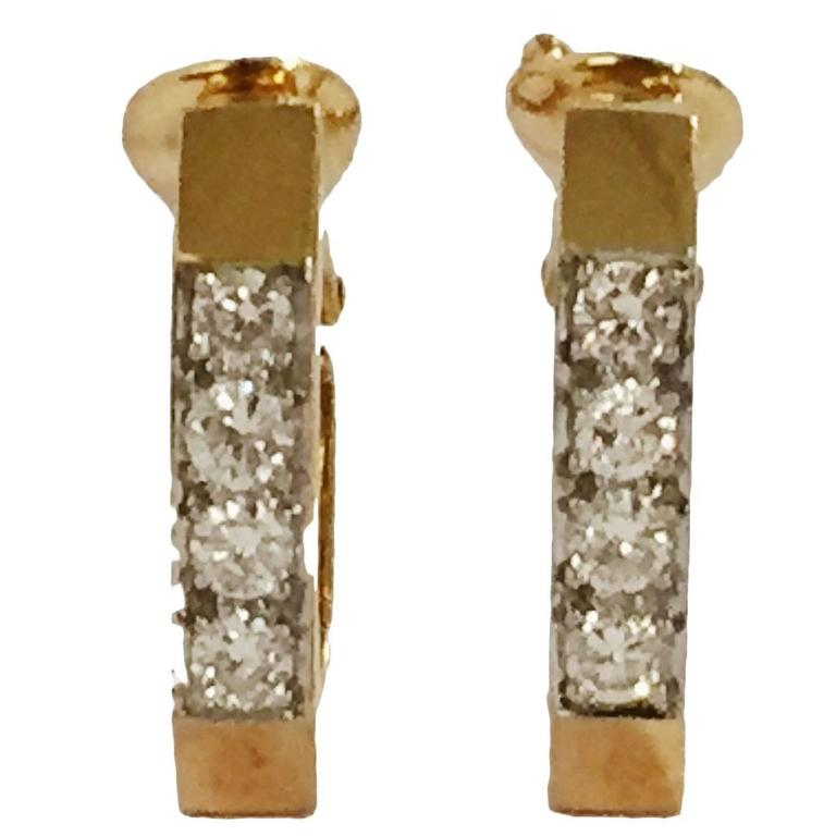 David Webb Diamond Gold Hoop Earrings   1