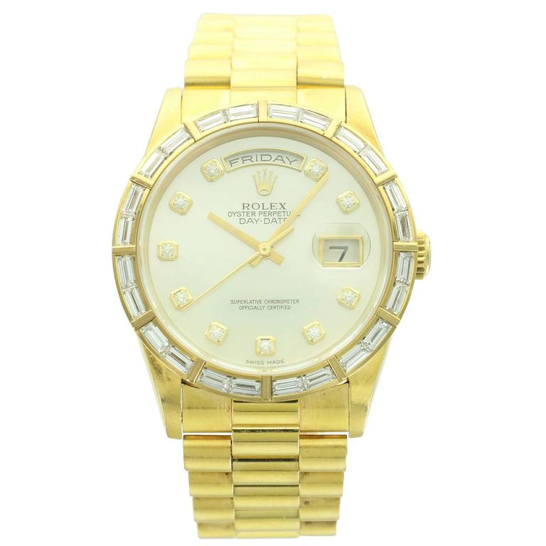 Rolex Yellow Gold Diamond Mother of Pearl Day-Date Wristwatch Ref 18368