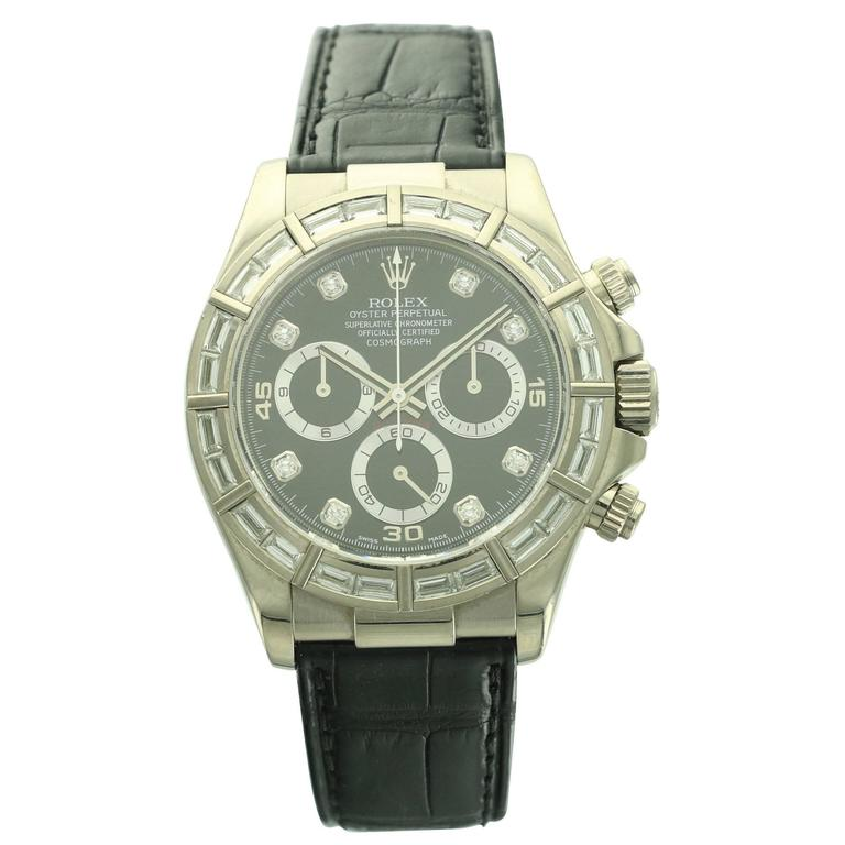 Rolex White Gold Daytona Baguette Diamond Wristwatch Ref 116589