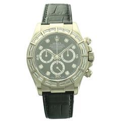 Rolex White Gold Daytona Baguette Diamond Wristwatch Ref 116589