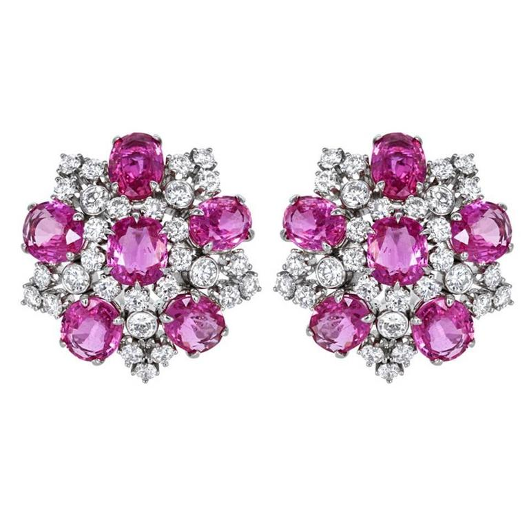 pink sapphire diamond earrings for sale at 1stdibs