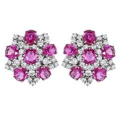 Pink Sapphire Diamond Earrings