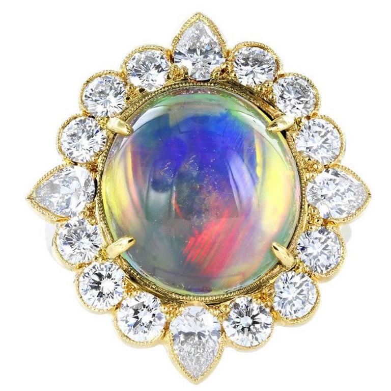 Jelly Opal and Diamond Ring