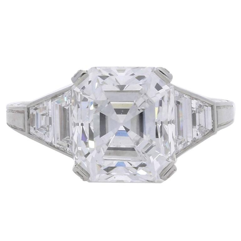 Hancocks 4.21 Carat GIA Certified Old Mine Emerald Cut Diamond Engagement Ring