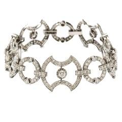 Art Deco Diamond 18 Carat White Gold Link Bracelet