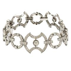 Art Deco Diamond Platinum Link Bracelet
