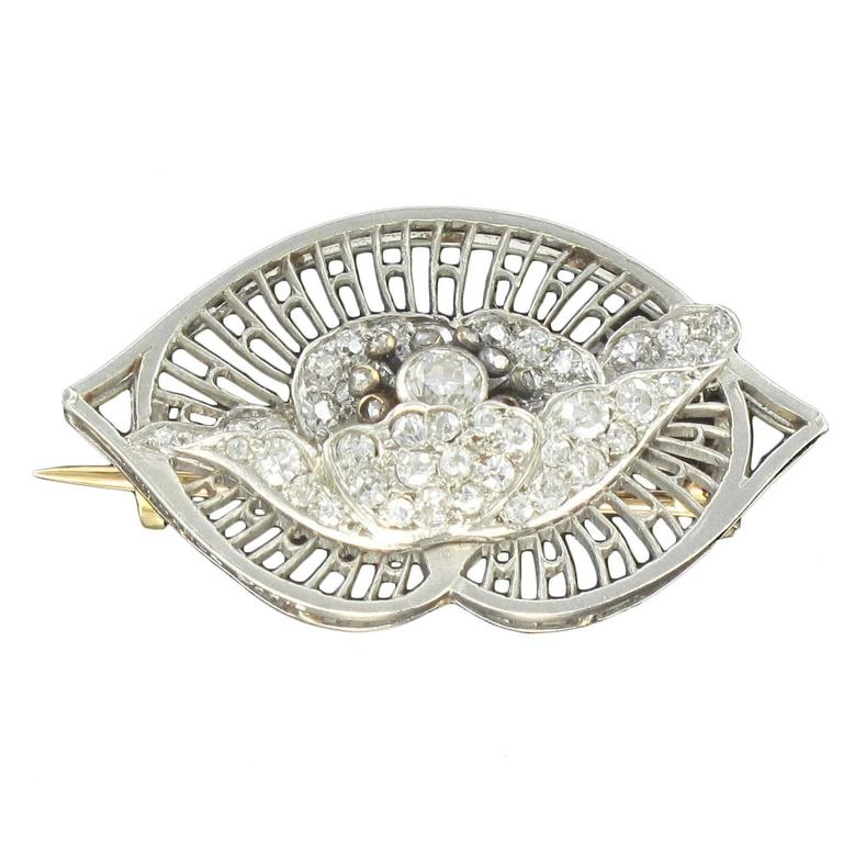 1930s Boucheron Diamond Platinum Brooch For Sale
