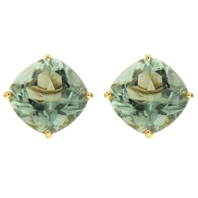 Green Amethyst Gold Earrings For Sale