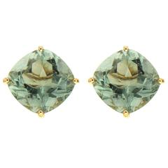 Green Amethyst Gold Earrings