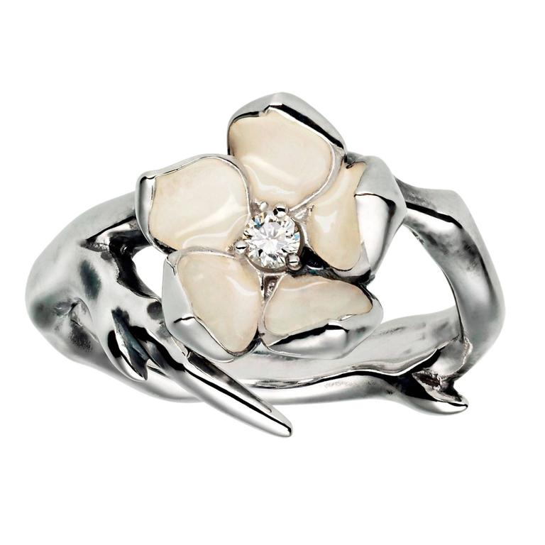 Shaun Leane Single Cherry Blossom Ring with Diamond and Ivory Enamel