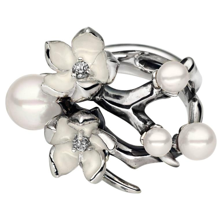 Shaun Leane Ivory Enamel Pearls Diamonds Sterling Silver Cherry Blossom Ring  1