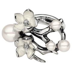 Shaun Leane Ivory Enamel Pearls Diamonds Sterling Silver Cherry Blossom Ring