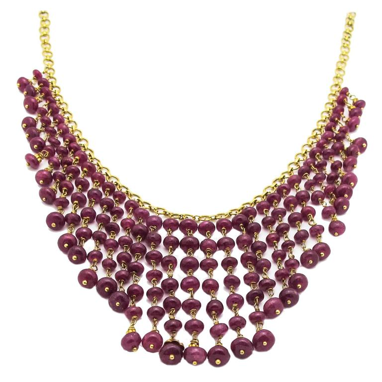Ruby Gold Bead Necklace 1