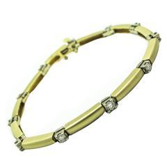 Diamond Gold Satin Finish Tennis Bracelet