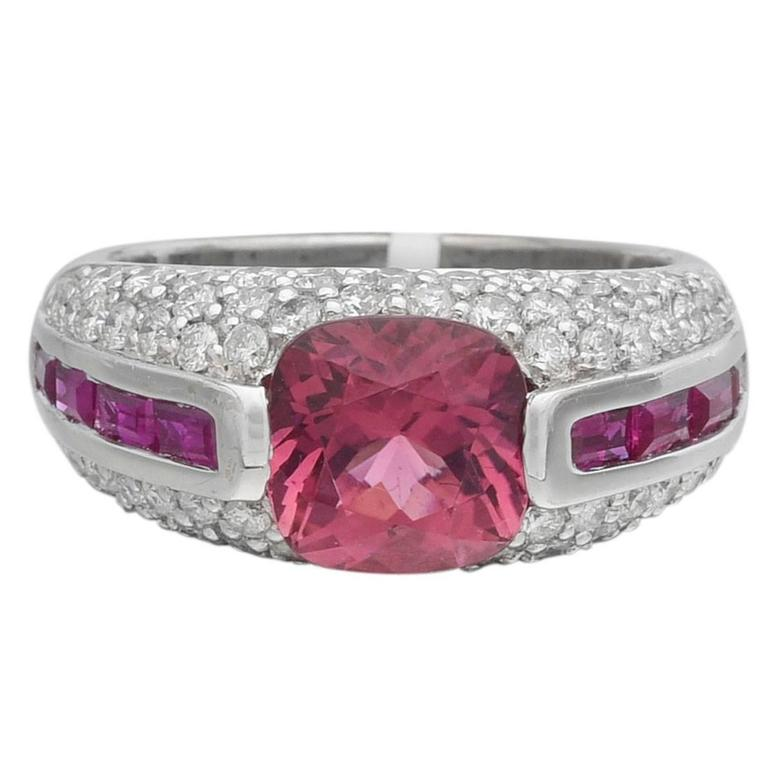 Pink Tourmaline Ruby Diamond Gold Dome Ring