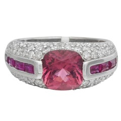 Pink Tourmaline Ruby Diamond Dome Ring