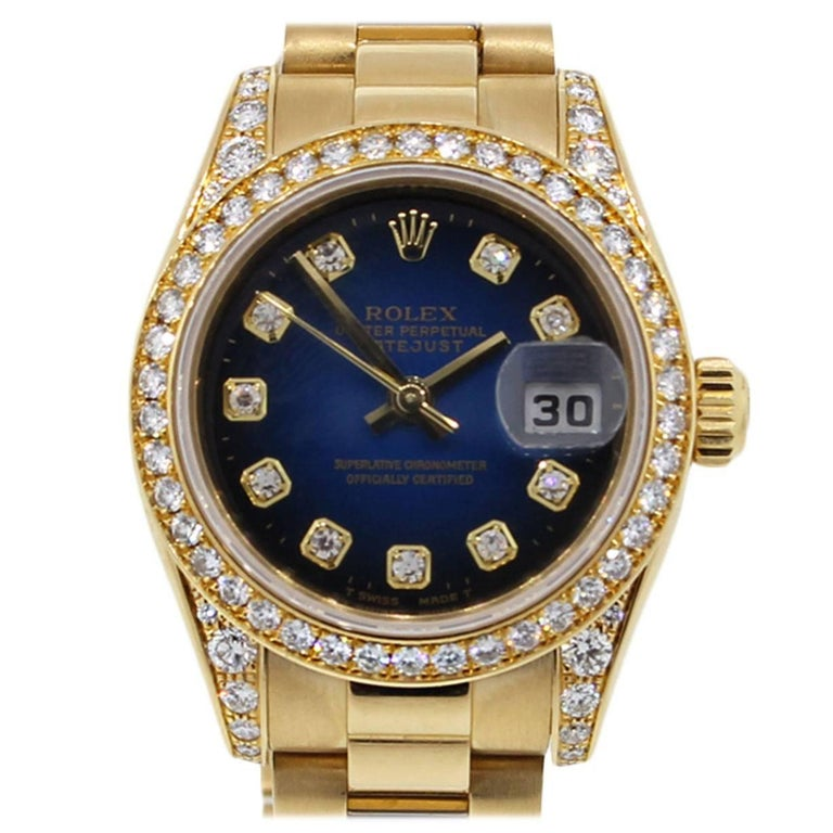 Rolex Lady's Yellow Gold Diamond Dial Datejust Presidential Automatic Wristwatch For Sale