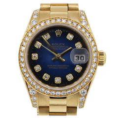 Rolex Lady's Yellow Gold Diamond Dial Datejust Presidential Automatic Wristwatch