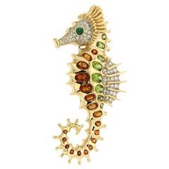Valentin Magro Madeira Citrine Peridot Gold Seahorse Brooch