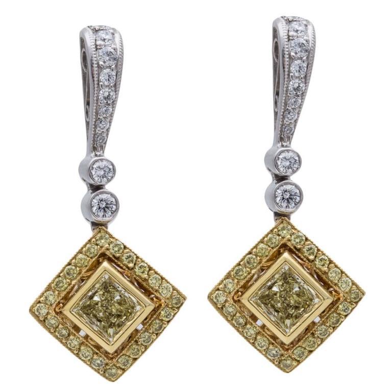 Beaudry Fancy Yellow Diamond Gold Platinum Earrings