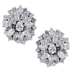 8 Carats Pear and Marquise Shape Diamonds Platinum Cluster Earrings