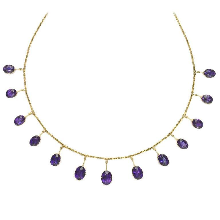 Victorian Amethyst Gold Fringe Necklace