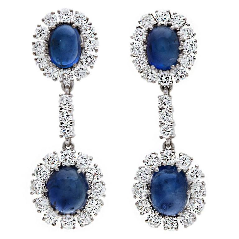Natural Sapphire and Diamond Gold Earrings