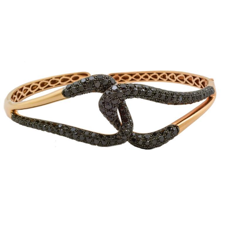 Etho Maria Black Diamond Gold Bangle Bracelet
