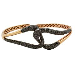 Etho Maria Black Diamond Gold Bangle Bracelet