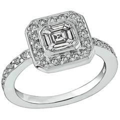 Stunning 1.01 Carat Asscher Cut Diamond Gold Engagement Ring