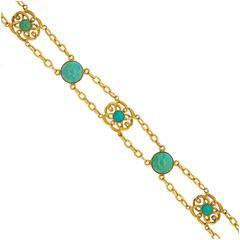 1900s Art Nouveau Turquoise Gold Bracelet