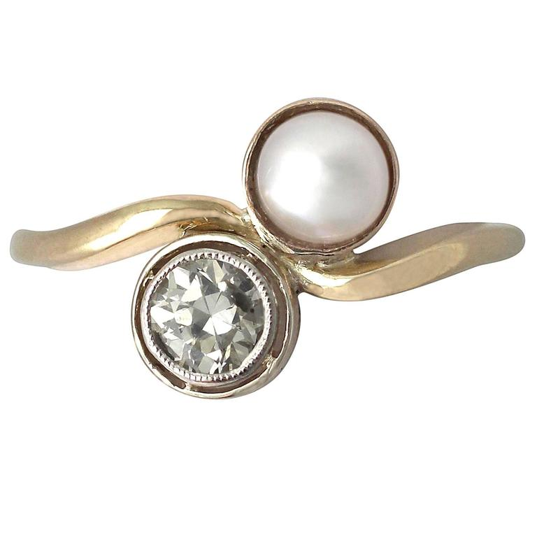 1920s Antique Pearl and Diamond Yellow Gold Twist Ring