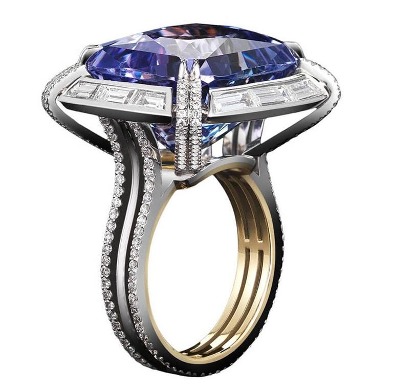 Alexandra Mor Cushion Cut Tanzanite Diamond Ring For Sale