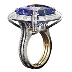 Cushion Cut Tanzanite Diamond Ring