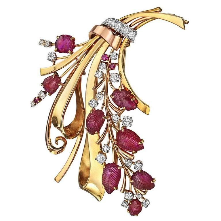Regner Paris Ruby Diamond Gold Spray Brooch 1