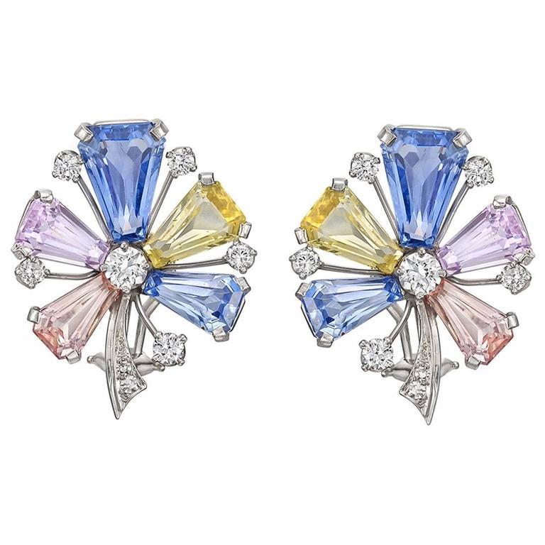 J.E. Caldwell Multicolored Pastel Sapphire Diamond Platinum Flower Earclips