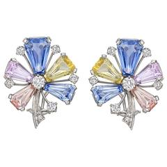 J.E. Caldwell Multicolored Pastel Sapphire Diamond Platinum Flower Earclips