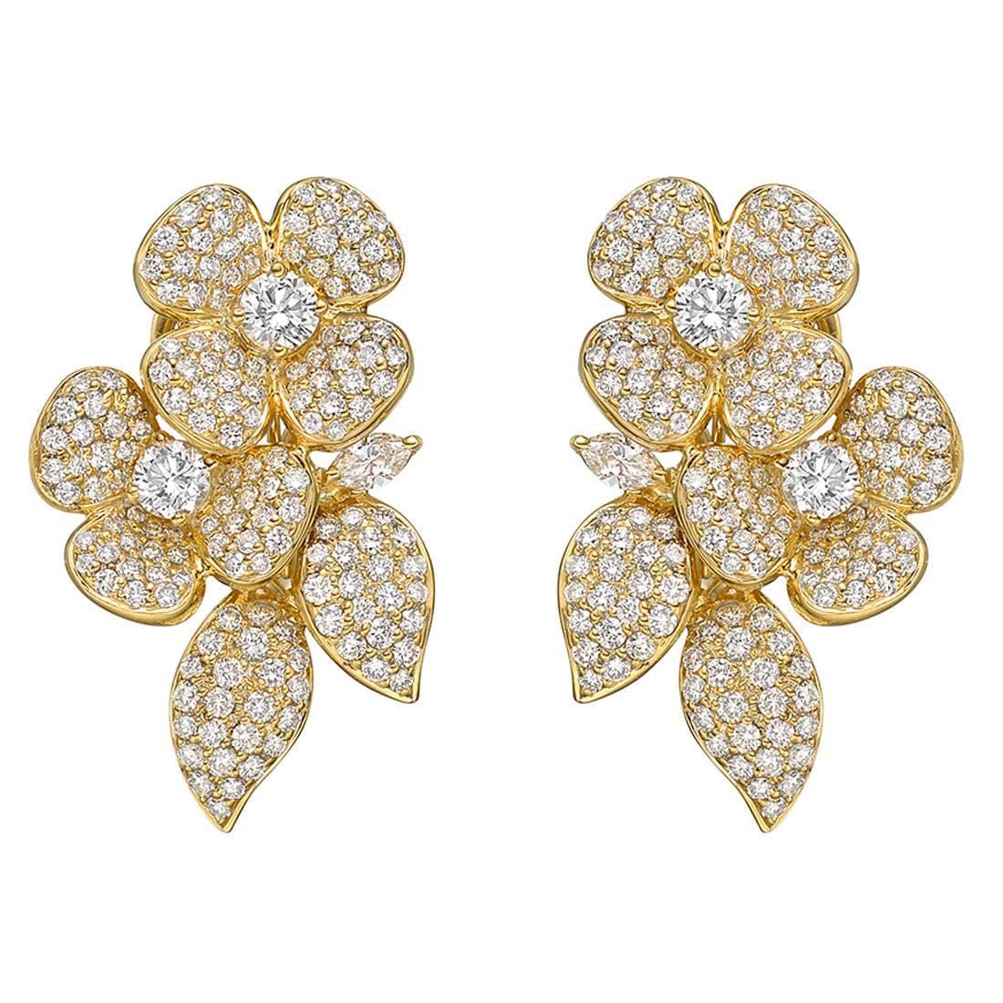 Pavé Diamond Gold Double Flower Earrings at 1stdibs