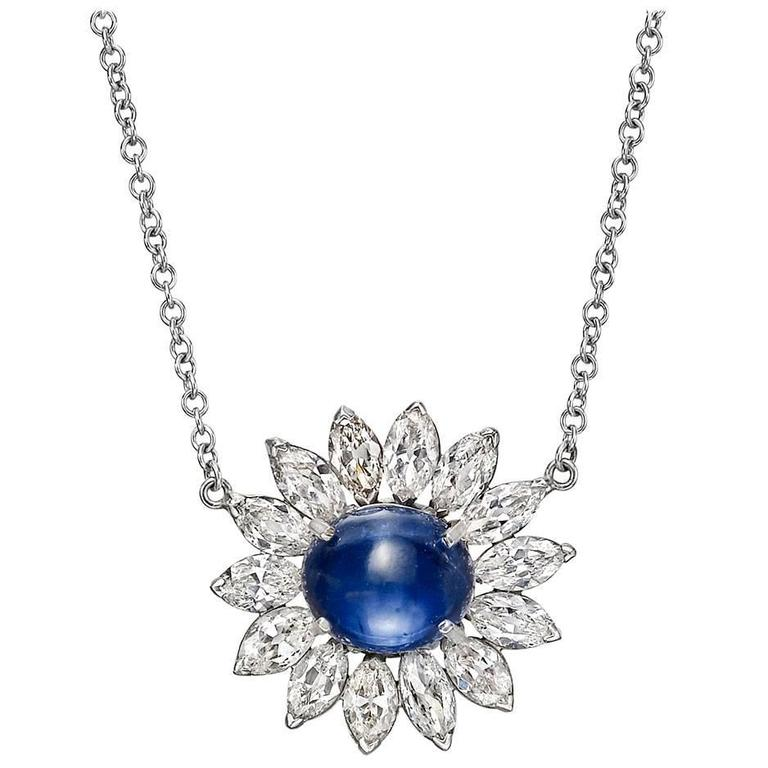 Sapphire Diamond Gold Platinum Cluster Pendant